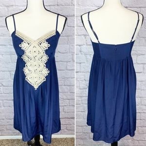 Lilly Pulitzer 100% Silk Navy Blue Gold Dress